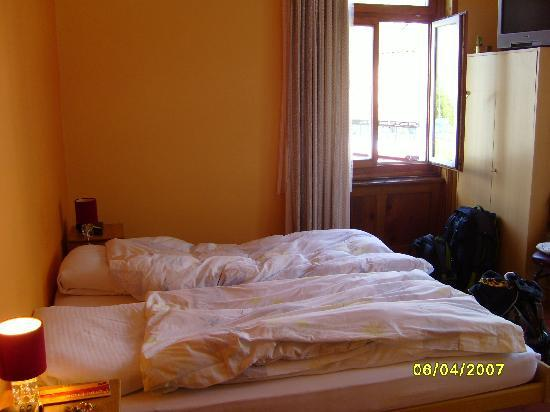 Hotel Bellaval: Our room in St. Moritz...that window looks out to the lake.