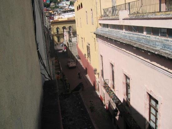 Hotel San Diego: View from first room into callejon or alley