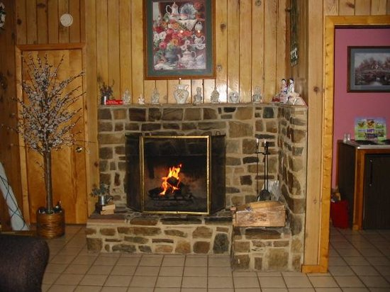 Falling Waters River Resort: Wood Burning Fireplace