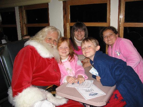 Great Smoky Mountains Railroad : Santa with my kids (red-head and boy) and my neices