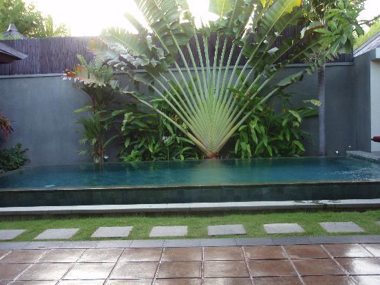 The Ulin Villas & Spa: View from Bedroom overlooking pool