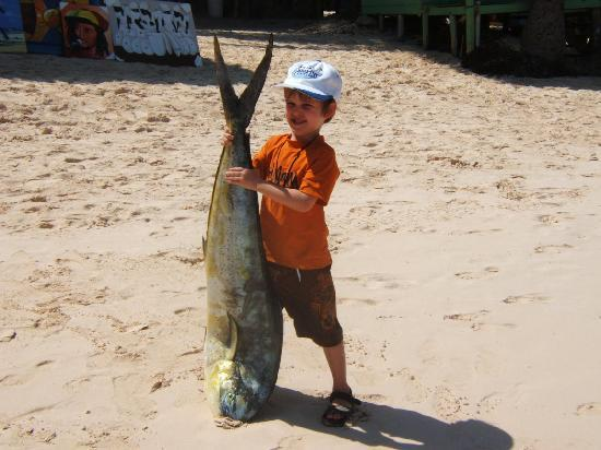 Bavaro Beach: Brandon Day Canada with his fish caught on his 2nd year fishing in Punta Cana, our biggest regul