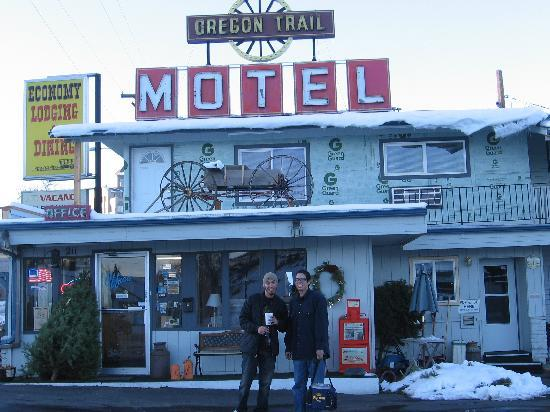 Oregon Trail Motel: My son Brandon & nephew Bryan in front of the office