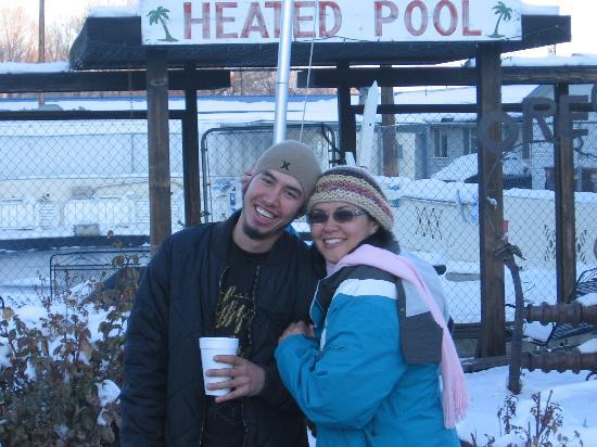 Oregon Trail Motel: My son and I in front of the pool area