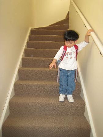 كويست لانكيستون سيرفسد أبارتمنتس: Stairs leading to upper unit