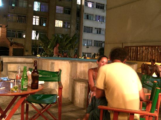 Stone of a Beach: roofdeck/bar at night