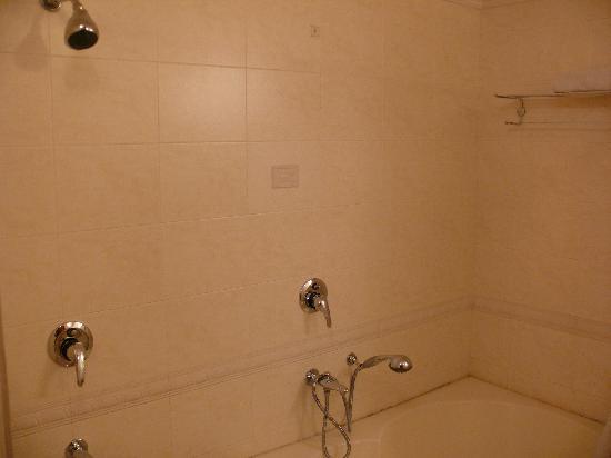 Hotel Singh Sahib : 1st floor suite bathroom with tub and shower