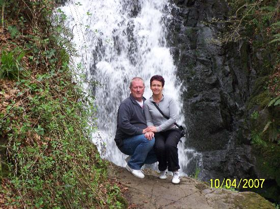 Larne, UK: me and my son at waterfall