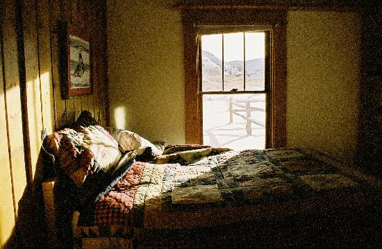 Woods Landing Resort: The Bedroom.  I would have made my bed if I'd known this would be published.