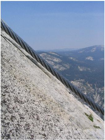 Half Dome: Profile of the cable section.  Yes, it's that steep!  Look at the background, it's level.