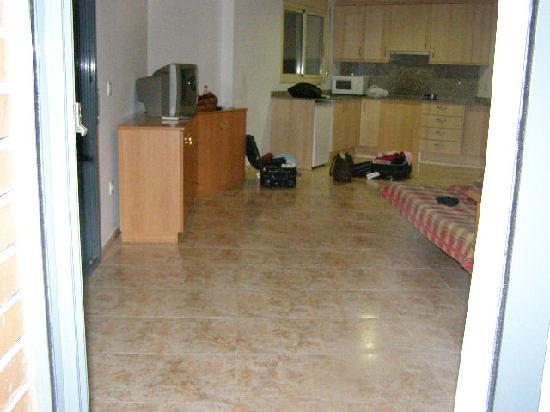 Apartamentos AR Santa Anna II: The living room/kitchen from the balcony