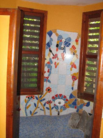 Bananarama Beach and Dive Resort: Neat artistic tile shower
