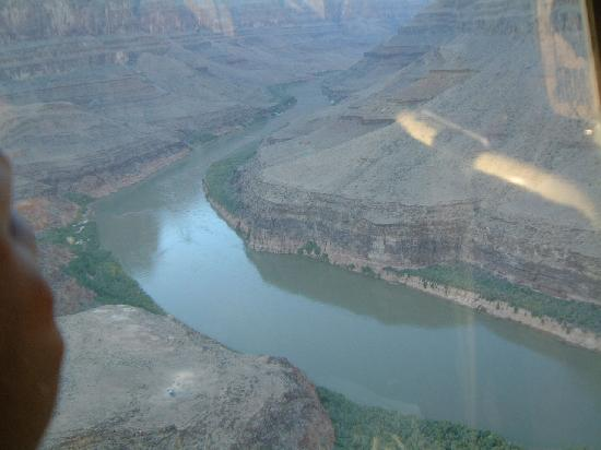 Signature at MGM Grand: View of Colardo River from our helicopter tour of the Grand Canyon