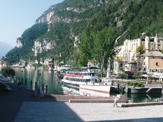 Centrale Hotel -- Riva Del Garda: View from outdoor restaurant