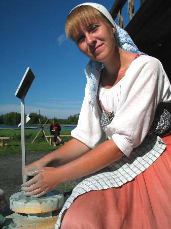 local girl doing pottery on Kizhi Island