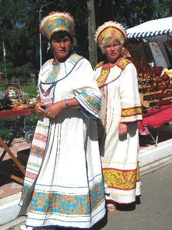 Uglich-2 costumed ladies in Provincial dresses