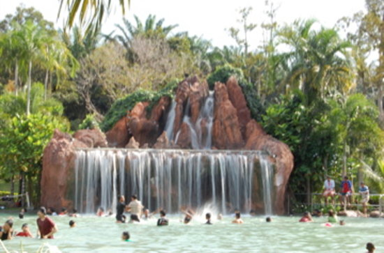 Felda Residence Hot Spings: Man made water fall @ mountain spring pool