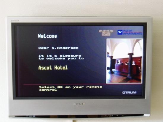 Ascot Hotel: Welcome message on the room's TV
