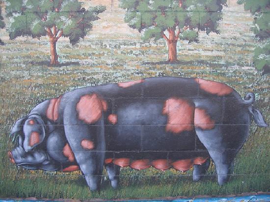 Farmer John's Murals at the Clougherty Packing Company: Farmer John Pig Mural