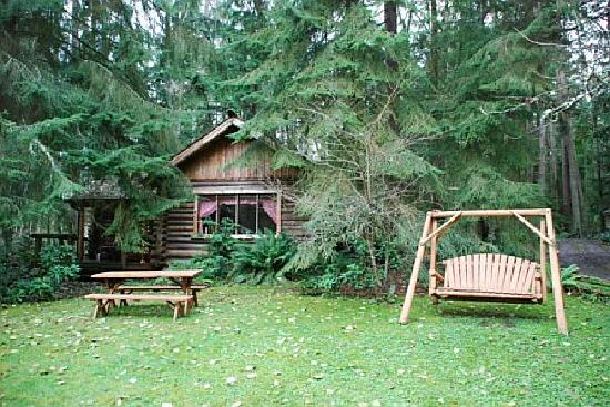 Greenbank, WA: View of the Log Cabin from the grounds