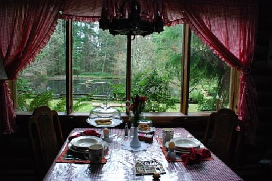 Guest House Log Cottages: Our breakfast table and view to the pond