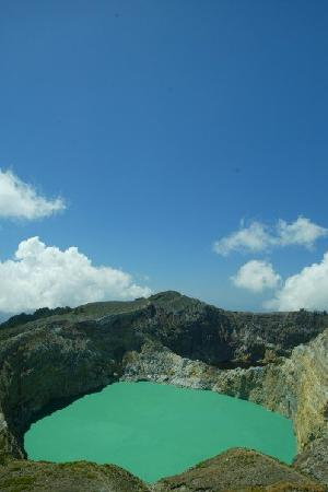 Keli Mutu: The Turquoise Lake.  The Brown Lake peeks through in the back