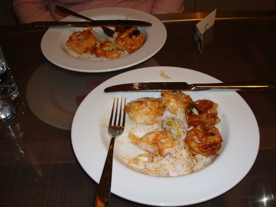 Chin Chin : our leftovers we ate at the hotel room. (grand marnier shrimp)