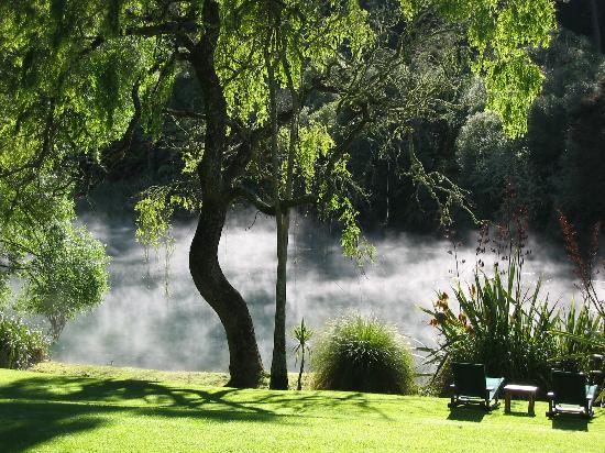 Huka Lodge: Morning view from our deck
