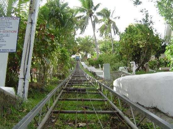 The rail car thing at Oasis Marigot that gets you up to the villas on the hill