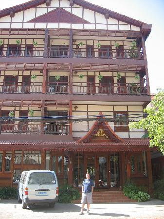 Front of the Chanthapanya Hotel, Vientiane