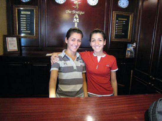 Amisos Hotel: The Twins at the front desk