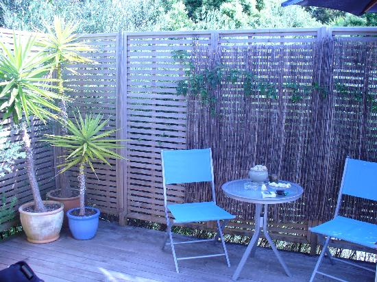The Courtyard: This is the deck off our 1 bedroom apartment we stayed, it served us well during hot weather.