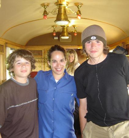 Swiss Chocolate Train: Our teens with the train hostess (in middle).