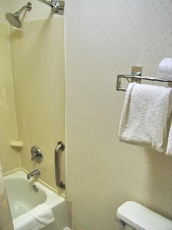 فيرفيلد إن آند سويتس باي ماريوت بورتلاند أيربورت: Ansicht des Badezimmers (großer Duschkopf und eine dieser gebogenen Duschvorhangstangen). Jede M