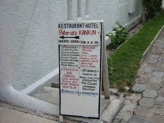 Maria's Kan-kin: sign at hotel entrance