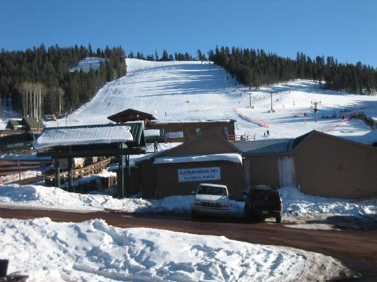 Angel Fire, NM: View of ski area from balcany