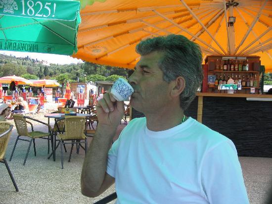 Portoroz, Slovenia: husband and morning coffee