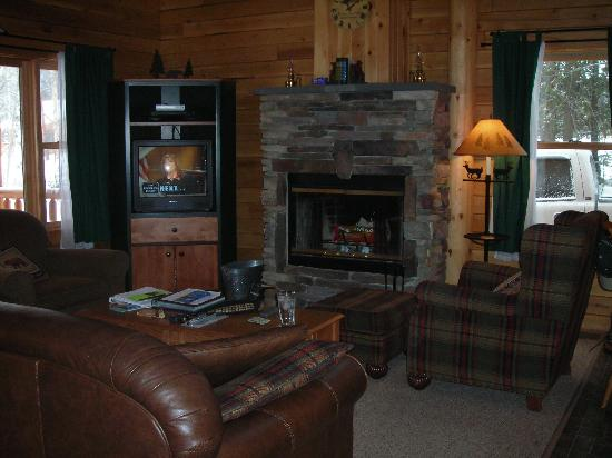 Rangeley, ME: The living area and fireplace