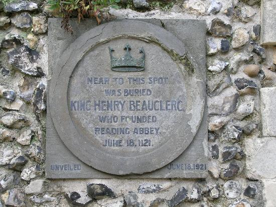 Reading Abbey Ruins: Reading abbey - Henry I plaque