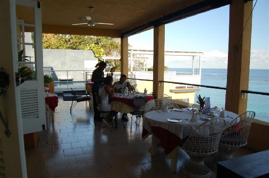 Moxons Beach Club: Open air Dining room