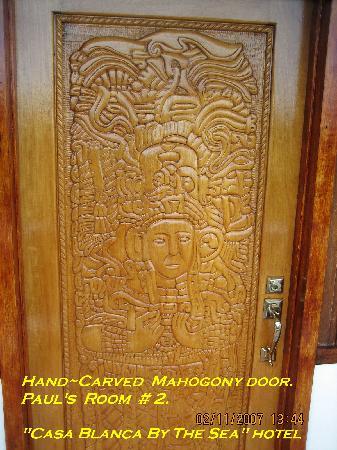 Casa Blanca by the Sea Hotel : Mahogany Door. Casablanca By The Sea Hotel. Belize.