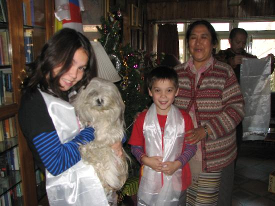 Dekeling Hotel: My kids with Mrs Norbu and Doma the dog!