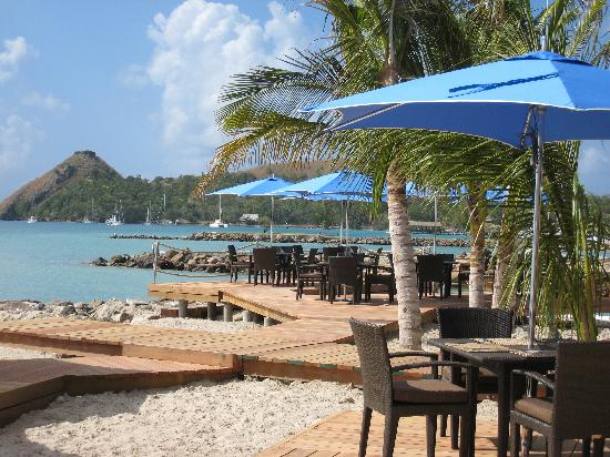 The Landings St. Lucia: Outdoor terrance and Pigeon Island