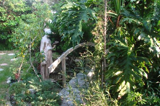 Beach Croft Motel: Little Garden with Fountain and Birds