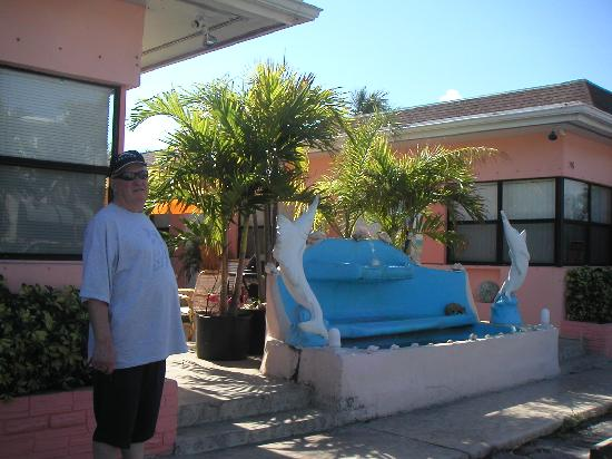 Sunshine Motel: a dolphin fountain at the front