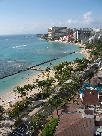 Our view of Waikiki Beach from the Lani of our Ocean View 22nd floor room
