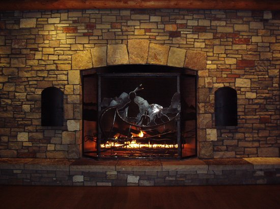 New Buffalo, MI : Enormous fireplace at the casin entrance