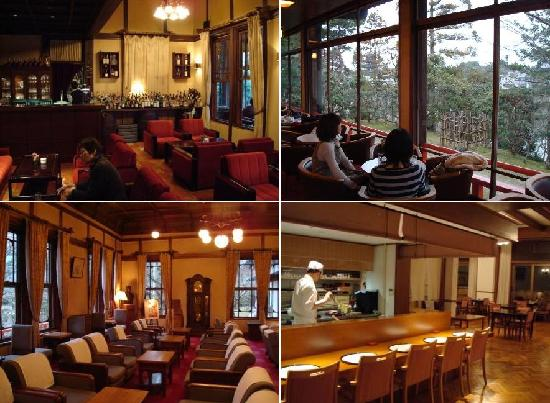 Nara Hotel: (1) lounge (2) lounge sitting area (3) lounge / tea room (4) Japanese Restaurant