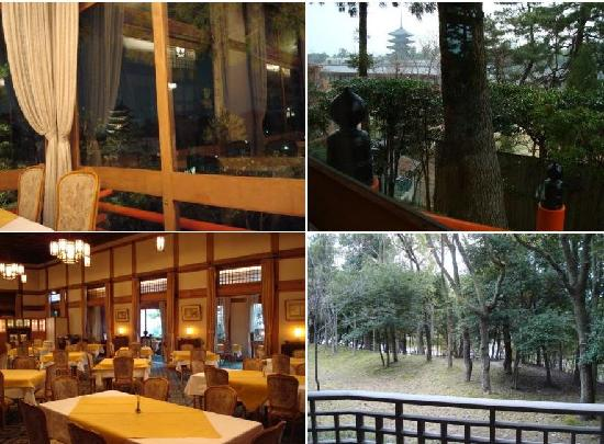 Nara Hotel: (1) my view during dinner (2) view during breakfast (3) main restaurant (4) view from my room