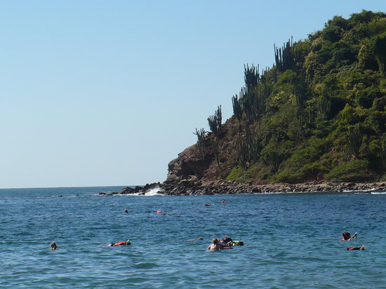 snorkelers at Playa Coral on Isla Ixtapa